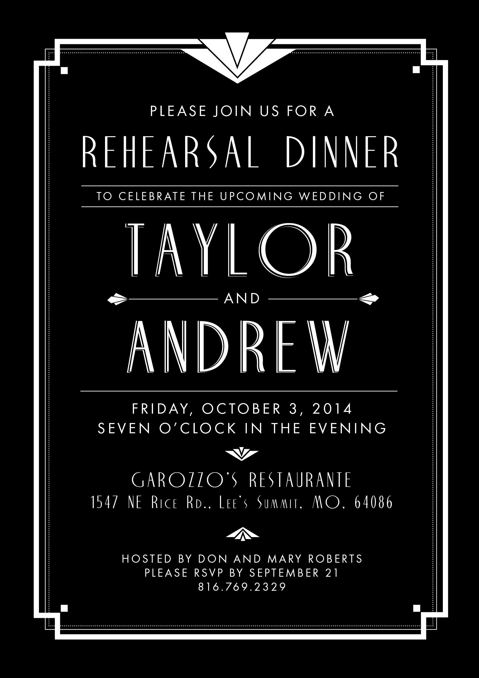 RESEARSAL DINNER INVITES
