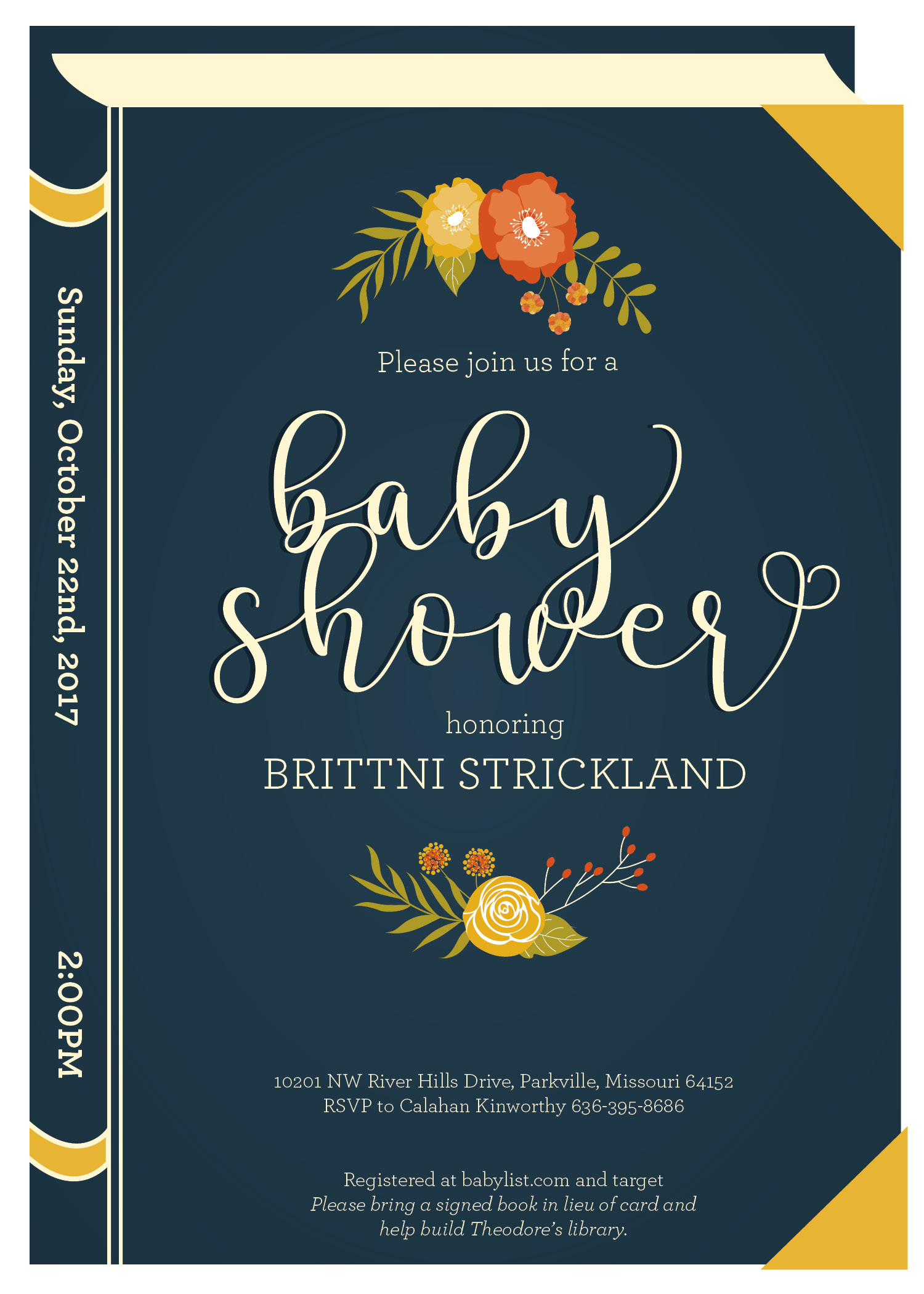 Book Baby Shower Invitations 1 | SJROBERTSDESIGN